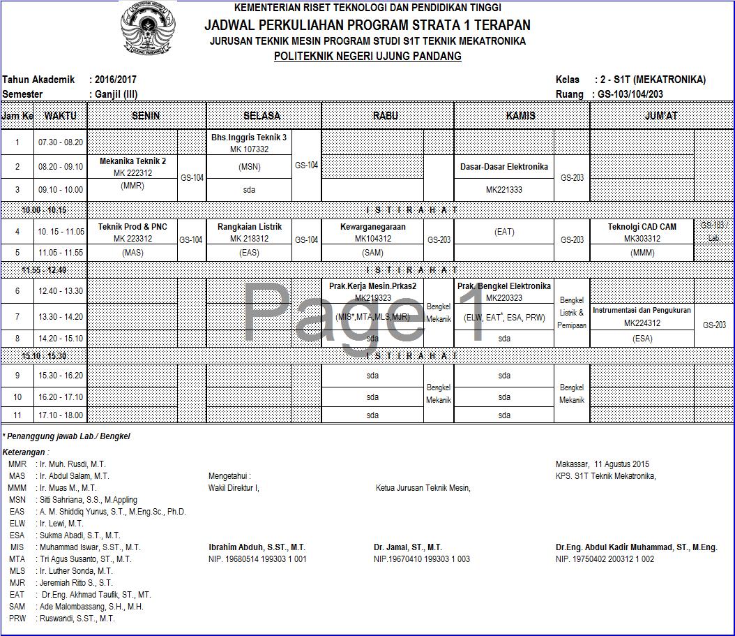 Jadwal Perkuliahan Semester Ganjil TA 2016/2017