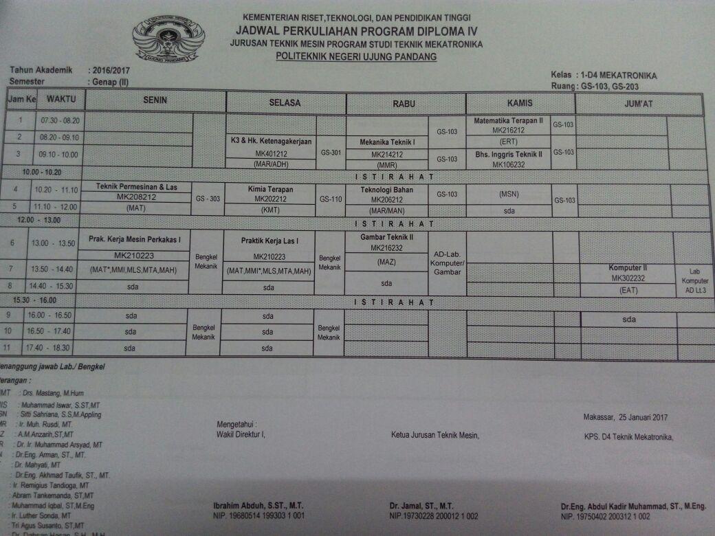 Jadwal Perkuliahan Semester Genap 2016/2017
