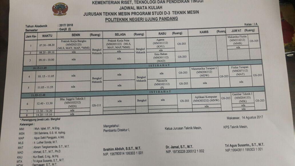 Jadwal Perkuliahan Semester Ganjil Tahun Ajaran 2017/2018
