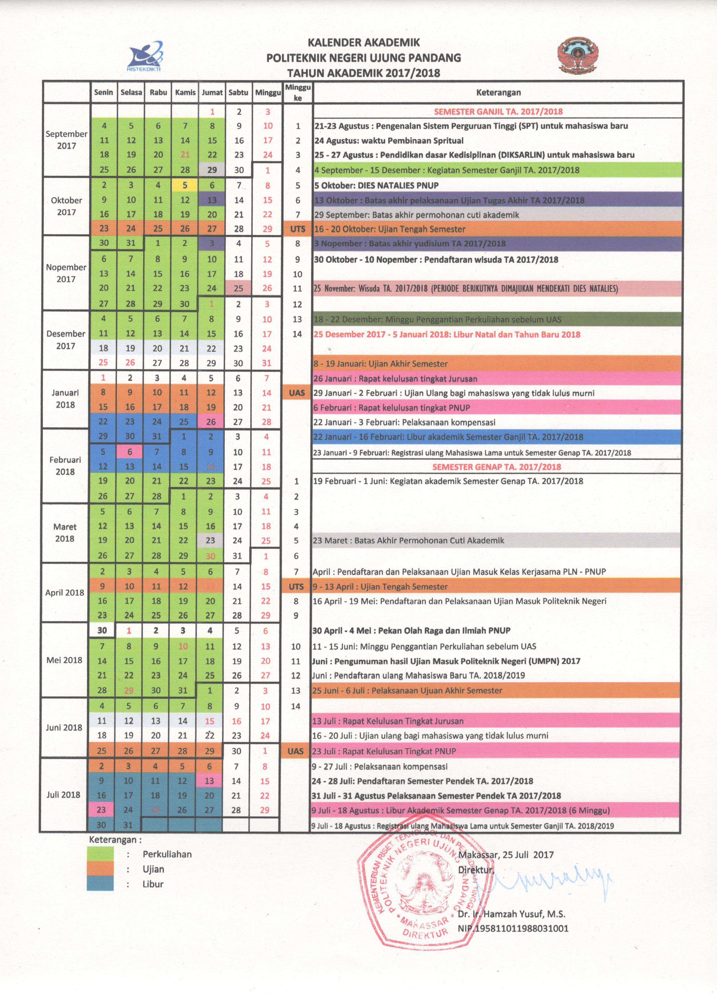 Kalender Akademik Tahun Ajaran 2017/2018 Politeknik Negeri Ujung Pandang