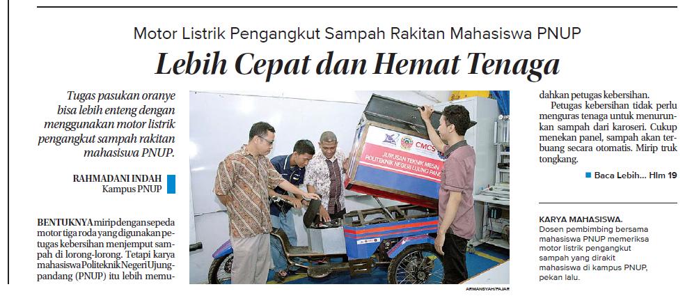 Publikasi Riset Teknik Mekatronika : Sepeda Motor Listrik Roda 3 Untuk Angkutan Sampah (Koran Fajar, Rabu/ 14 Maret 2018)