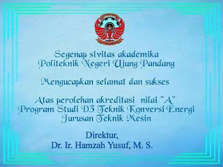 Prodi Teknik Konversi Energi Raih Akreditasi A